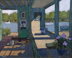 Cottage by the River - landscape interior bright acrylic painting river boats