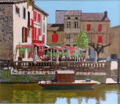 Red Cafe Brantome -  cityscape, French cafe, river, red acrylic board