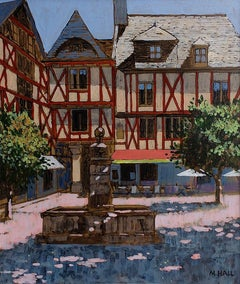 Shaded Square, Brittany - French cityscape, acrylic on board, fountain square