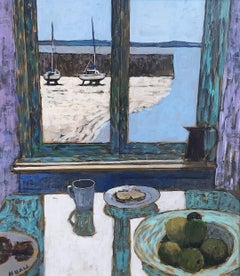View of the Harbour with Still Life -contemporary multicoloured acrylic painting