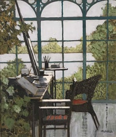 Studio By the Lake - acrylic on board, studio view lake interior