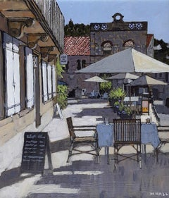 Table set for Lunch, Dordogne - acrylic sunset view French cafe white umbrella