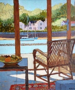 View of Mylor Creek - bright river view chair interior acrylic painting