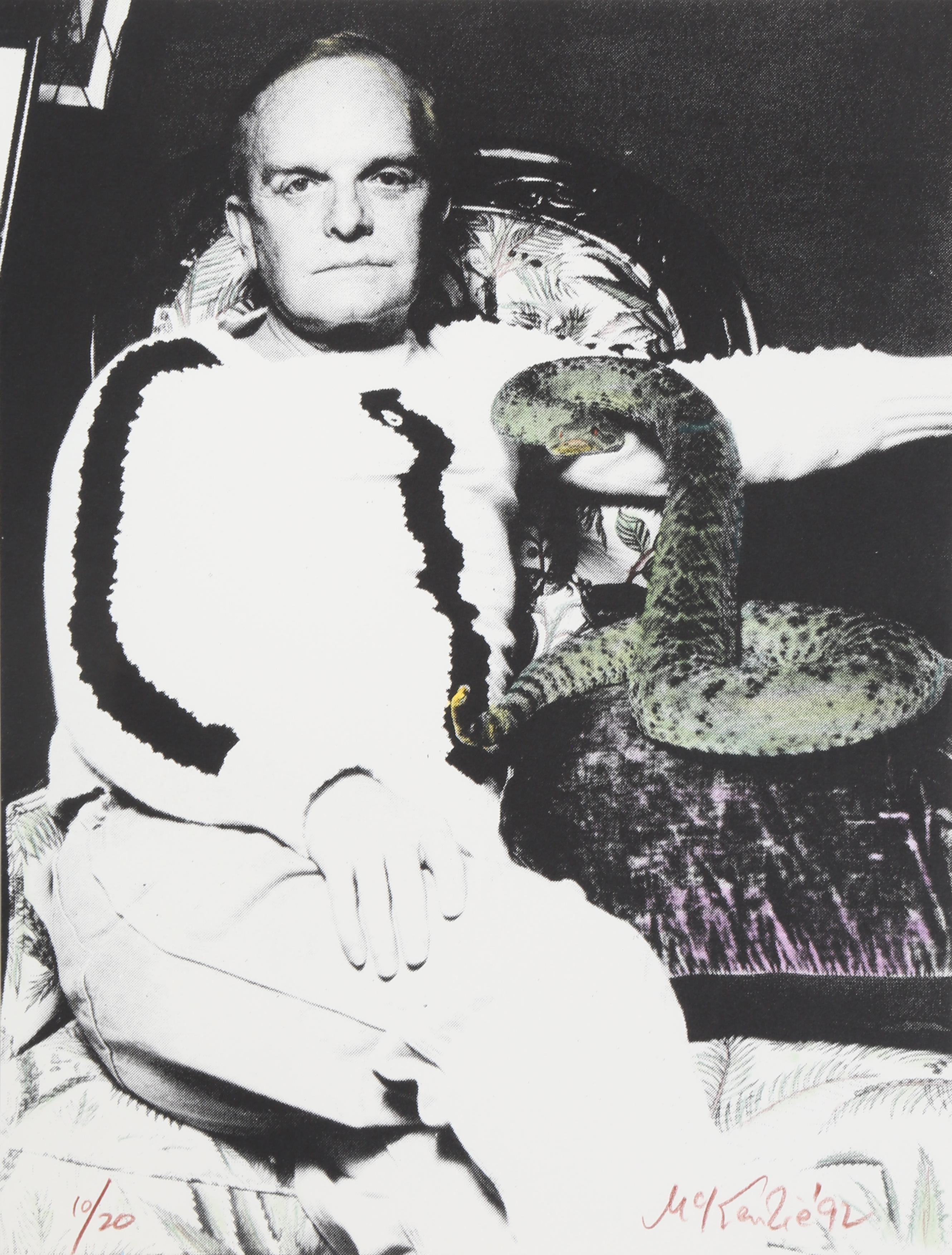 Truman Capote and Snake, Silkscreen by Mike McKensie