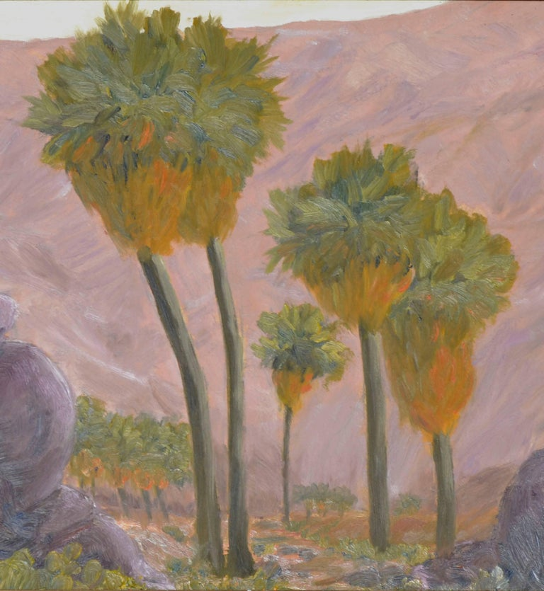 Palms and Mountains - American Impressionist Painting by Mike Wright
