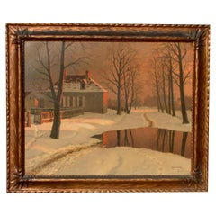 Mikhail Germachev Russian Artist Winter Snow Scene, Oil on Canvas