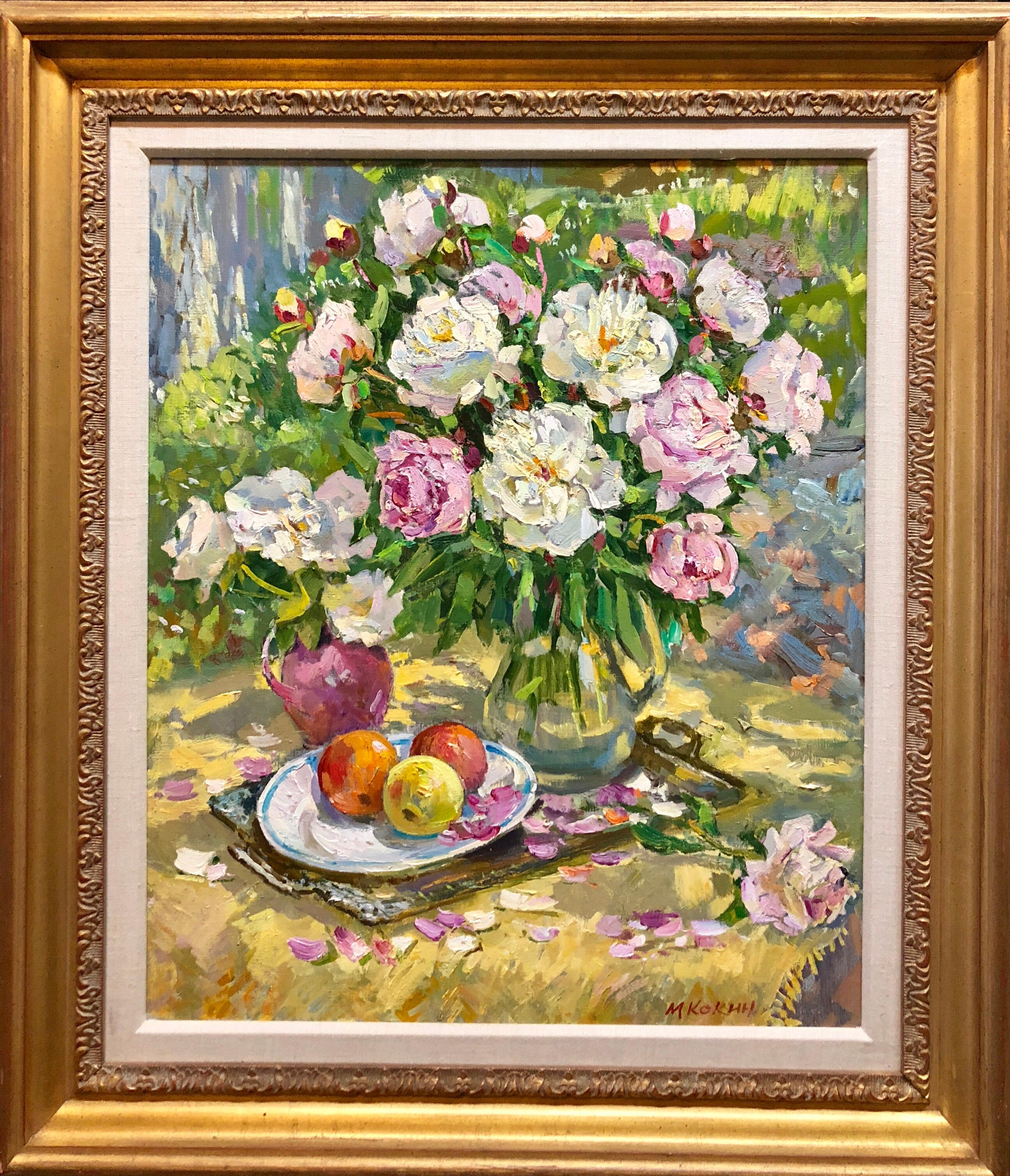 Vibrant Bouquet of Flowers, StIll Life of Fruit, Oil Painting Findlay Label