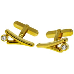Mikimoto 0.09/0.09 Carat Diamond 18 Karat Yellow Gold Cufflinks