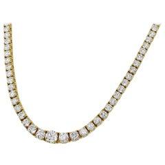 Mikimoto 10.00 Carat Diamond 18 Karat Yellow Gold Tennis Necklace
