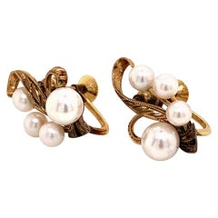 Mikimoto 14 Karat Gold Earrings 2.57 Grams Pearls