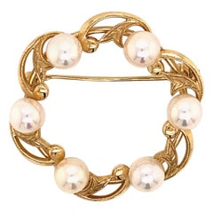 Mikimoto 14 Karat Gold Pin Brooch 7.83 Grams Pearls