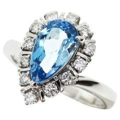 Mikimoto 1.78 Carat Aquamarine 0.29 Carat Diamond 14 Karat White Gold Ring