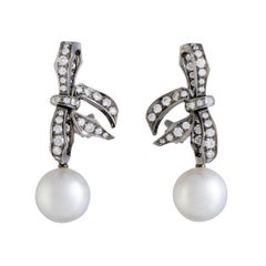 Mikimoto 18 Karat Gold and Black Rhodium Diamond and White Pearl Bow Earrings