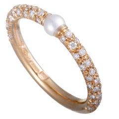 Mikimoto 18 Karat Rose Gold Diamond and Akoya Pearl Band Ring