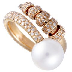 Mikimoto 18 Karat Rose Gold Diamond and White Pearl Ring