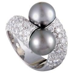 Mikimoto 18 Karat White Gold 2.80 Carat Diamond and Two Black Pearls Bypass Ring