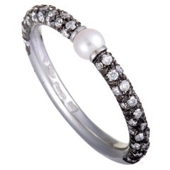 Mikimoto 18 Karat White Gold and Black Rhodium Diamond and Akoya Pearl Band