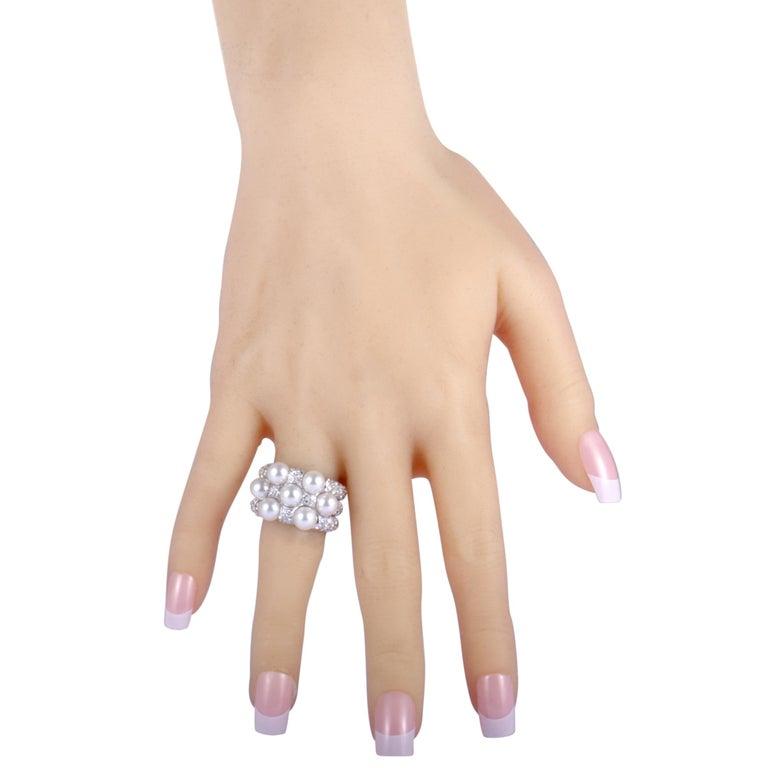 Mikimoto 18 Karat White Gold Diamond and 7 Akoya Pearls Ring For Sale 2