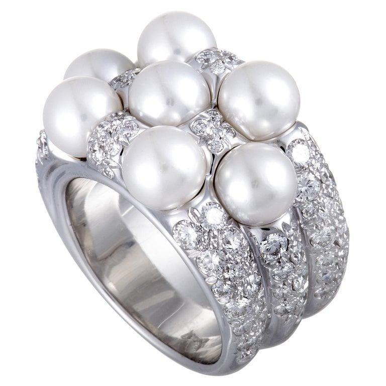 Mikimoto 18 Karat White Gold Diamond and 7 Akoya Pearls Ring For Sale