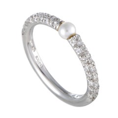 Mikimoto 18 Karat White Gold Diamond and Akoya Pearl Band Ring