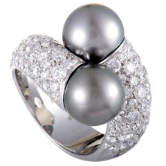 Mikimoto 18 Karat White Gold Diamond and Two Black Pearls Bypass Ring