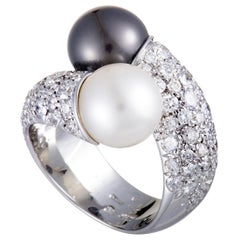 Mikimoto 18 Karat White Gold Diamond and White and Black Pearls Bypass Ring