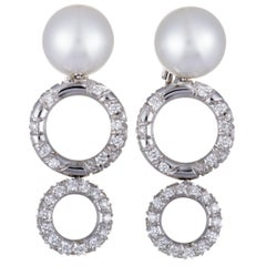 Mikimoto 18 Karat White Gold Diamond and White Pearl Dangle Earrings