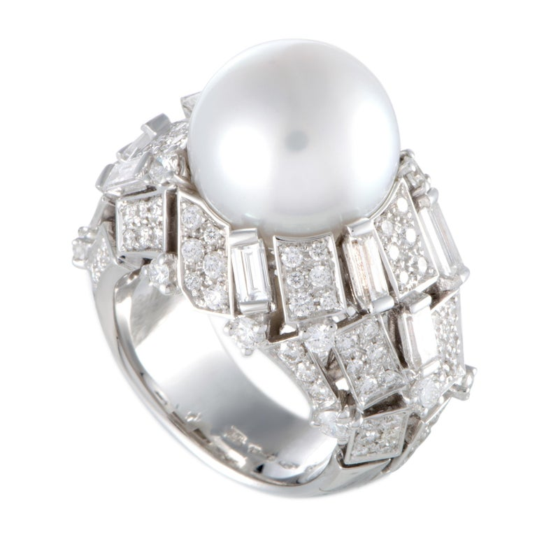 Mikimoto 18 Karat White Gold Diamond and White Pearl Large Ring For Sale