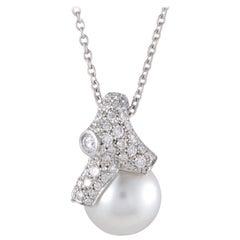 Mikimoto 18 Karat White Gold Diamond and White Pearl Pendant Necklace