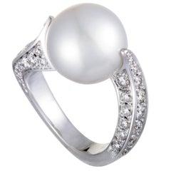 Mikimoto 18 Karat White Gold Diamond and White Pearl Ring