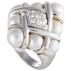 Mikimoto 18 Karat White Gold Diamonds and 8 Akoya Pearls Ring