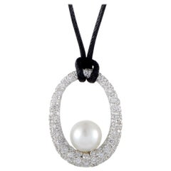 Mikimoto 18 Karat White Gold Full Diamond and White Pearl Pendant Black