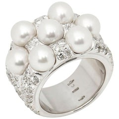 Mikimoto 18 Karat White Gold Seven Akoya Pearl and Diamond Cocktail Ring