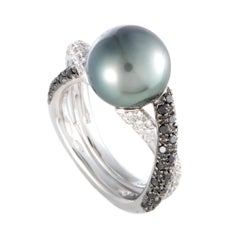 Mikimoto 18 Karat White Gold White and Black Diamonds and Black Pearl Ring