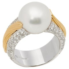 Mikimoto 18 Karat White and Yellow Gold Akoya Pearl and Diamond Cocktail Ring