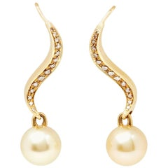 Mikimoto 18 Karat Yellow Gold Akoya Pearl and Diamond Drop Earrings