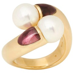 Mikimoto 18 Karat Yellow Gold Akoya Pearl and Tourmaline Cocktail Ring