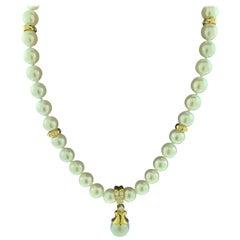 Mikimoto 18 Karat Yellow Gold and Diamonds Drop Pendant Pearl Strand Necklace