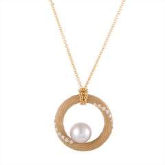 Mikimoto 18 Karat Yellow Gold Diamond and Akoya Pearl Circle Pendant