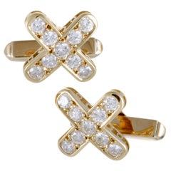 "Mikimoto 18 Karat Yellow Gold Full Diamond ""X"" Cufflinks"