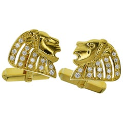 Mikimoto 18 Karat Yellow Gold Lion Motif Cufflinks