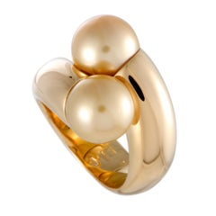 Mikimoto 18 Karat Yellow Gold Two Golden Pearls Bypass Ring