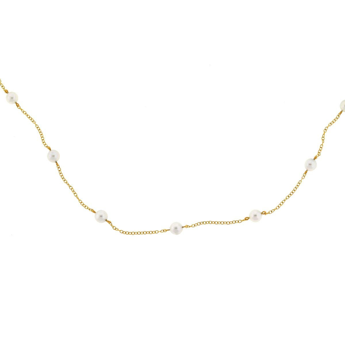 Mikimoto 18 Karat Yellow Gold with White Akoyo Cultured Pearls Station Necklace
