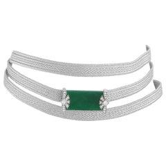 Mikimoto 18K White Gold 0.43 Ct Diamond and 13.53 Ct Jade Necklace
