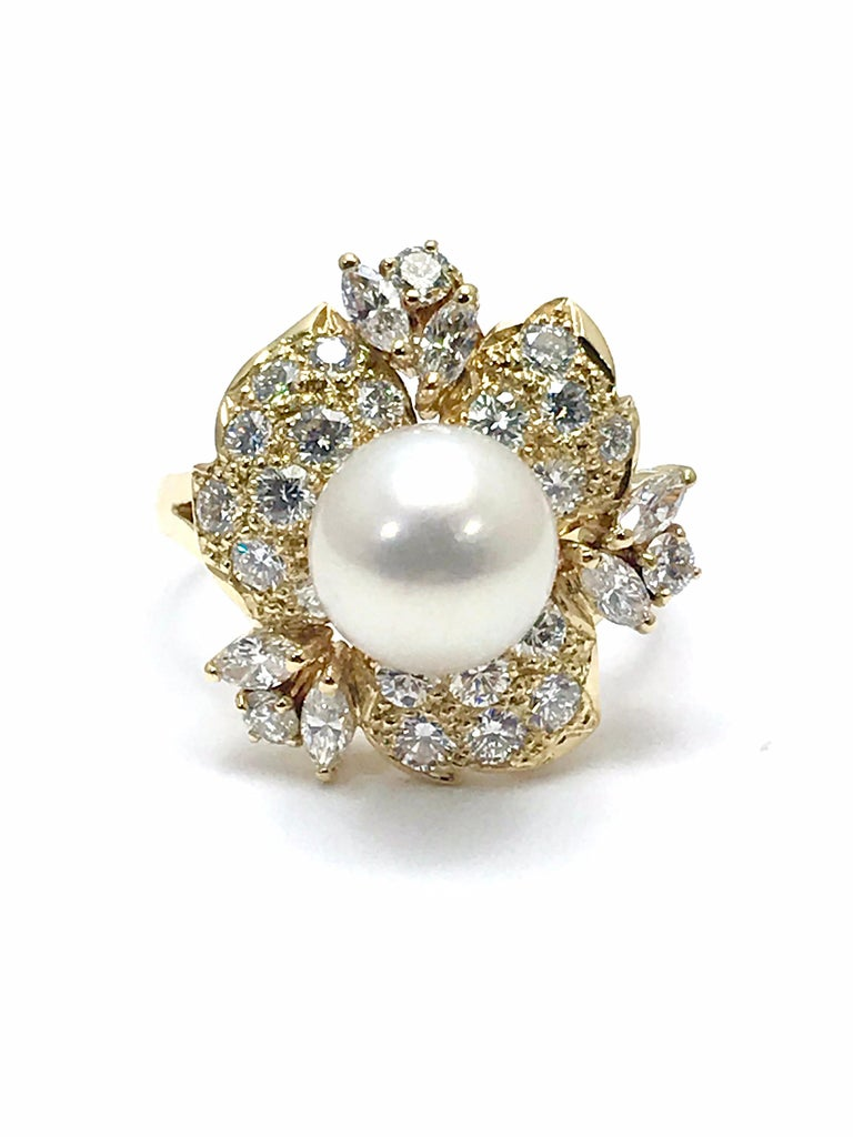 Modern Mikimoto Cultured Pearl and Diamond Yellow Gold Fashion Ring For Sale