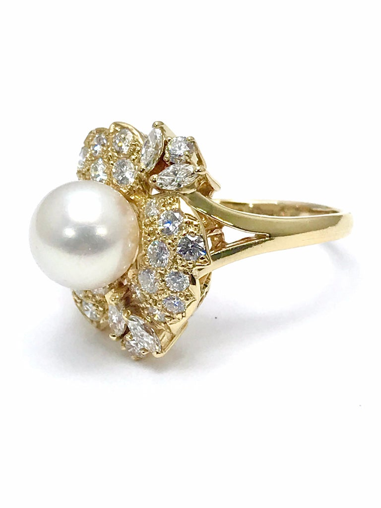 Mikimoto Cultured Pearl and Diamond Yellow Gold Fashion Ring For Sale 1