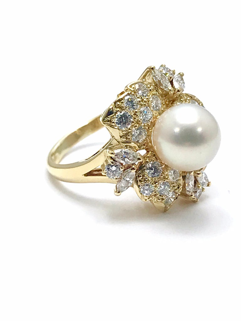Mikimoto Cultured Pearl and Diamond Yellow Gold Fashion Ring For Sale 2