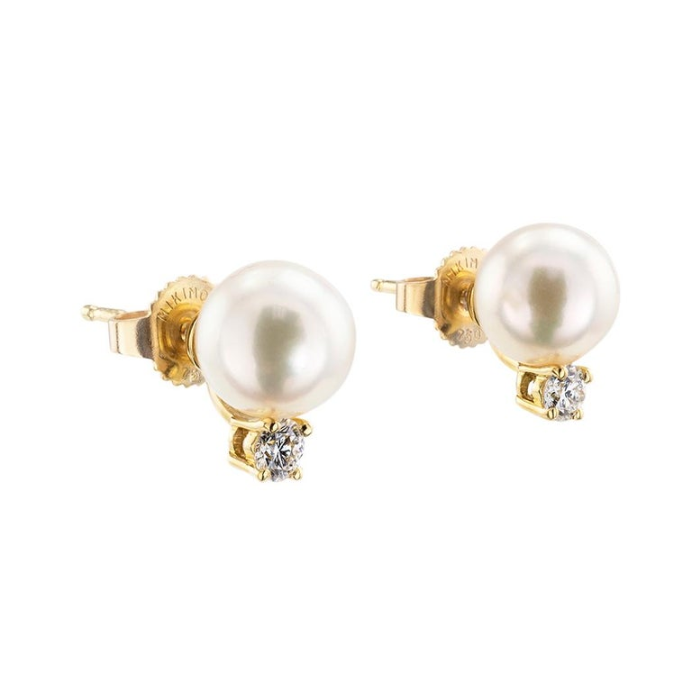 Mikimoto Akoya cultured pearl diamond and yellow gold stud earrings.  Clear and concise information you want to know is listed below.  Contact us right away if you have additional questions.  We are here to connect you with beautiful and affordable