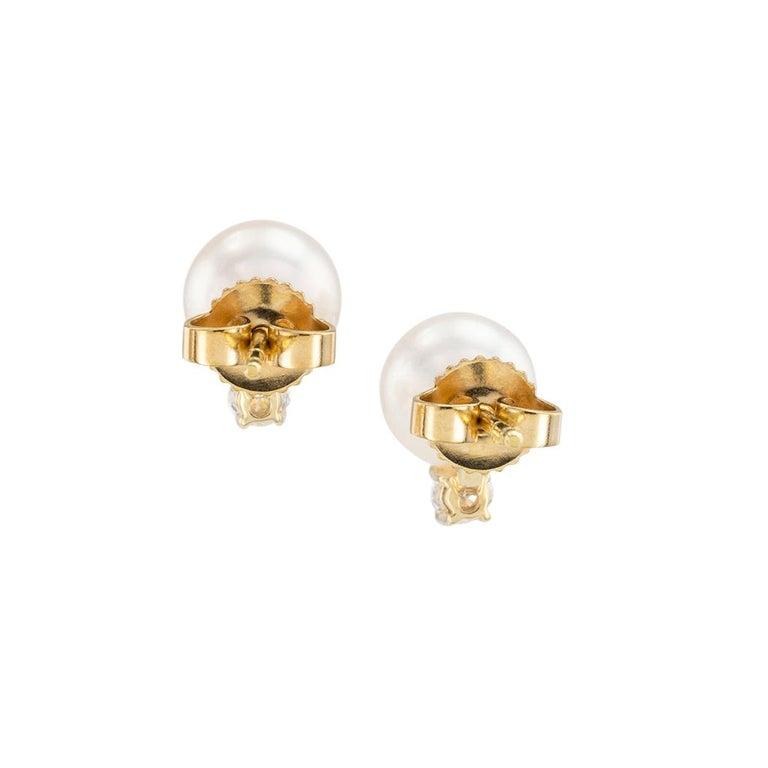 Round Cut Mikimoto Akoya Cultured Pearl Diamond Yellow Gold Stud Earrings For Sale