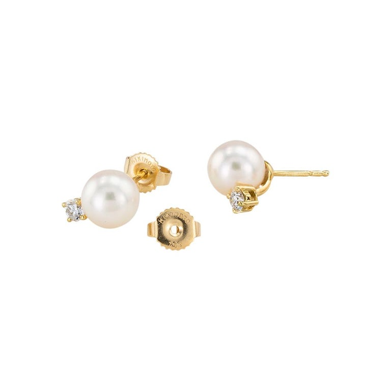 Mikimoto Akoya Cultured Pearl Diamond Yellow Gold Stud Earrings In Good Condition For Sale In Los Angeles, CA